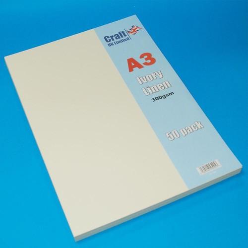 50 x A3 Linen Ivory (LINE2027)