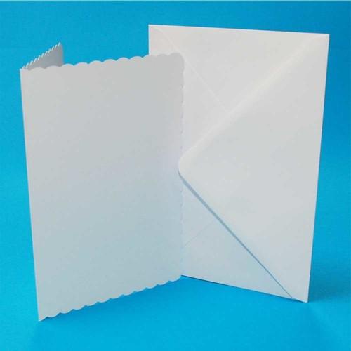 Cards & Envelopes 5 x 7 White Scalloped 50 Pack (LINE835)