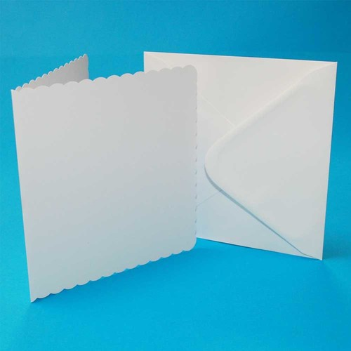 5 x Cards & Envelopes 8 x 8 White Scalloped 2(LINE839)