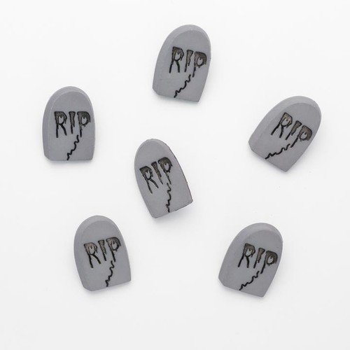 100 x 25mm RIP Tombstone Buttons (N00)