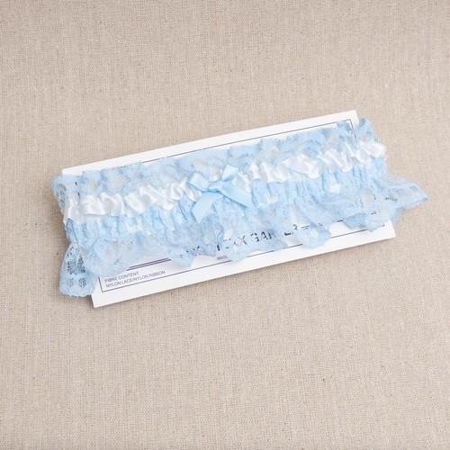 (NG05B) Bridal Garter - Blue with White Trim