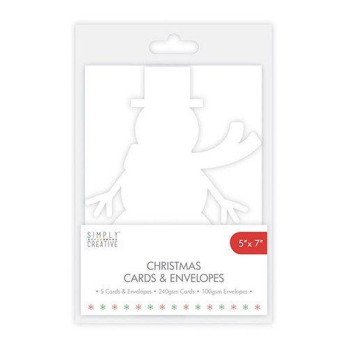 Simply Creative Snowman Cards and Envelopes 5 Per Pack 5x7 Inch (SCCAE005)