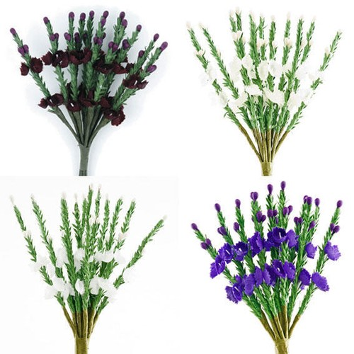 Flower Heather Bunch 6 Per Pack (SH411) (formerly BB1058L)(White)