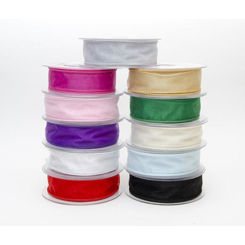 (SR1209W70) Organza Wired Ribbon 70mm x 20m (Silver)