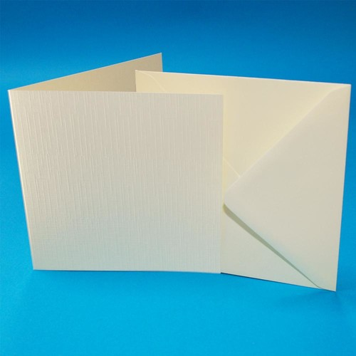 Cards & Envelopes 6 x 6 Ivory Linen 50 Pack (W104)
