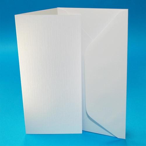 Cards & Envelopes DL White Linen 50 Pack (W107)