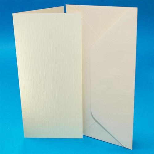 Cards & Envelopes DL Ivory Linen 50 Pack (W108)