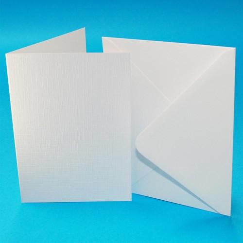 Cards & Envelopes C6 White Linen 50 Pack (W111)