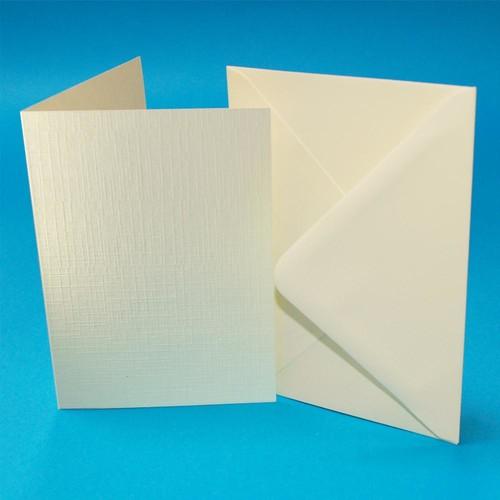 Cards & Envelopes C6 Ivory Linen 50 Pack (W112)