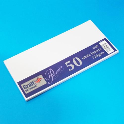 Premium Inserts 6 x 6 Inch White 50 Pack (W113)