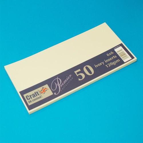 Premium Inserts 6 x 6 Inch Ivory 50 Pack (W116)