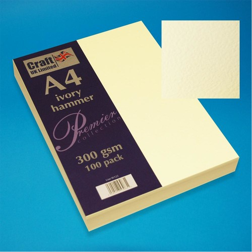 Premium A4 Cards Hammer Finish Ivory (W122)